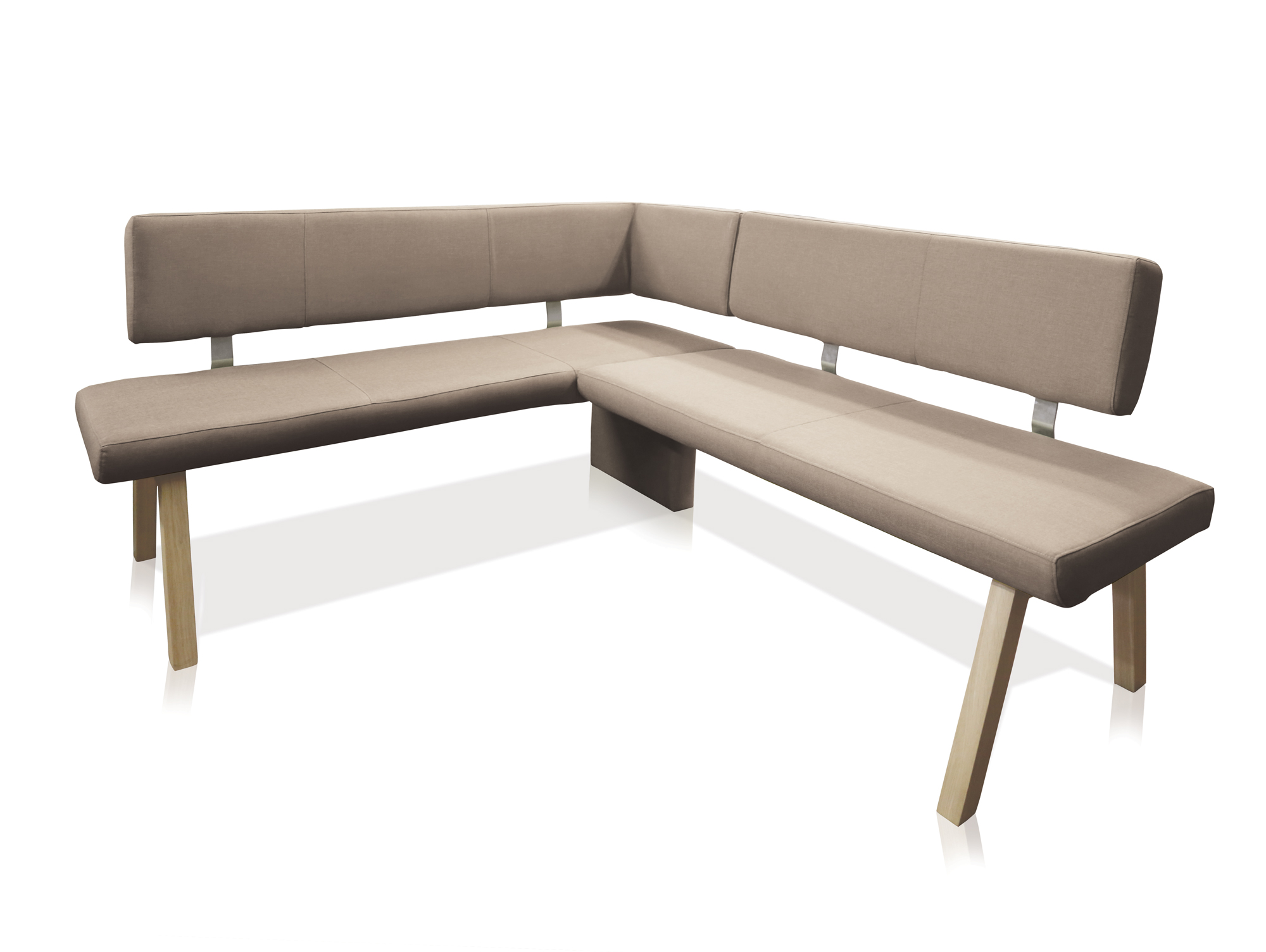 koby eckbank mit stoffbezug taupe links 192 x 161 cm. Black Bedroom Furniture Sets. Home Design Ideas
