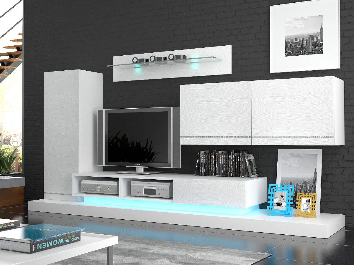 laura wohnwand anbauwand weiss inkl beleuchtung bequem online bestellen. Black Bedroom Furniture Sets. Home Design Ideas