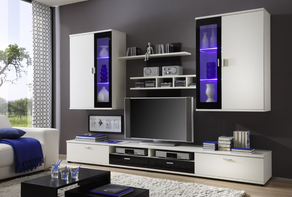 laurin ii wohnwand wei schwarz im internet g nstig bestellen sch ne m bel. Black Bedroom Furniture Sets. Home Design Ideas
