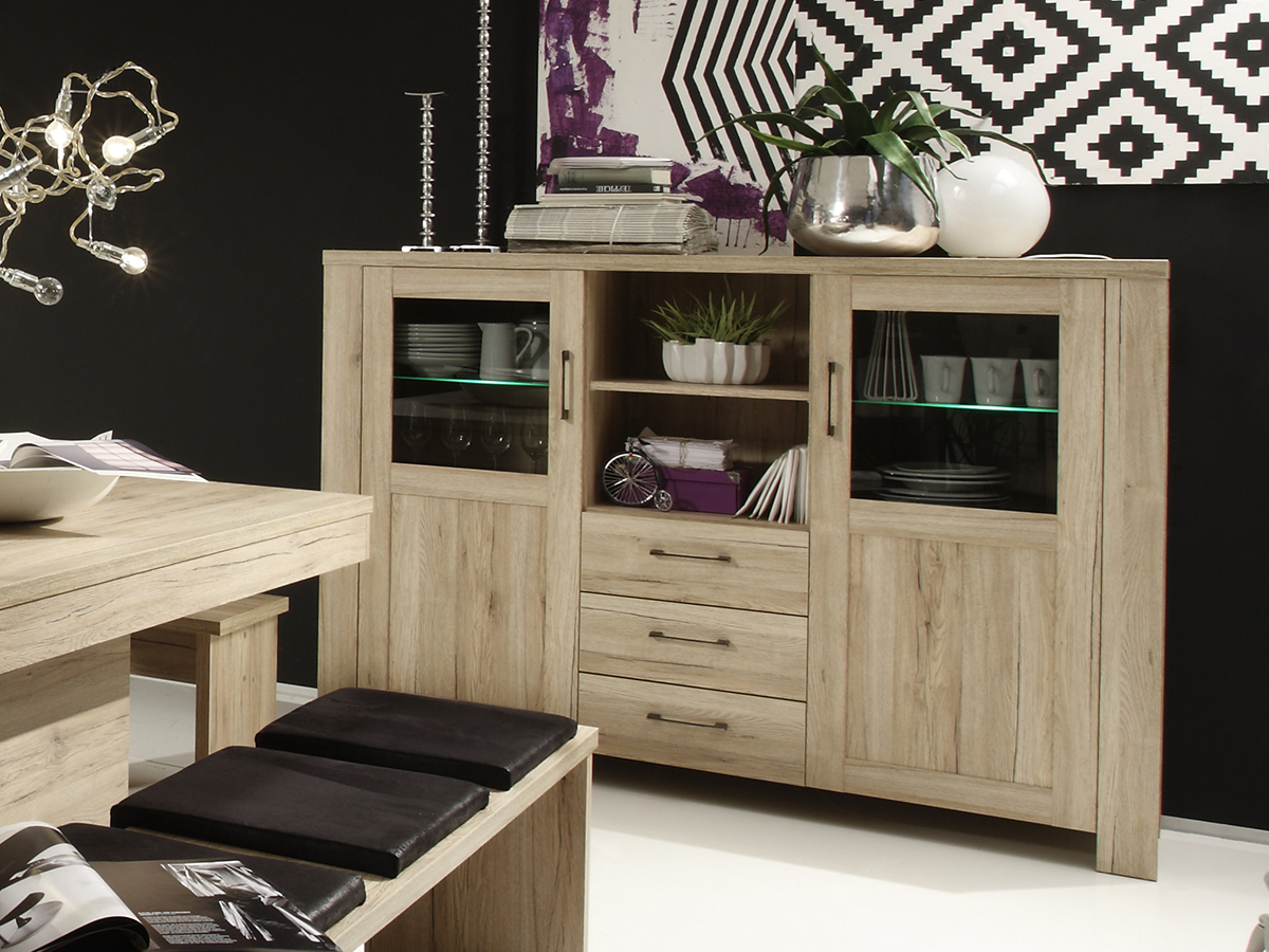 leroy highboard san remo eiche. Black Bedroom Furniture Sets. Home Design Ideas