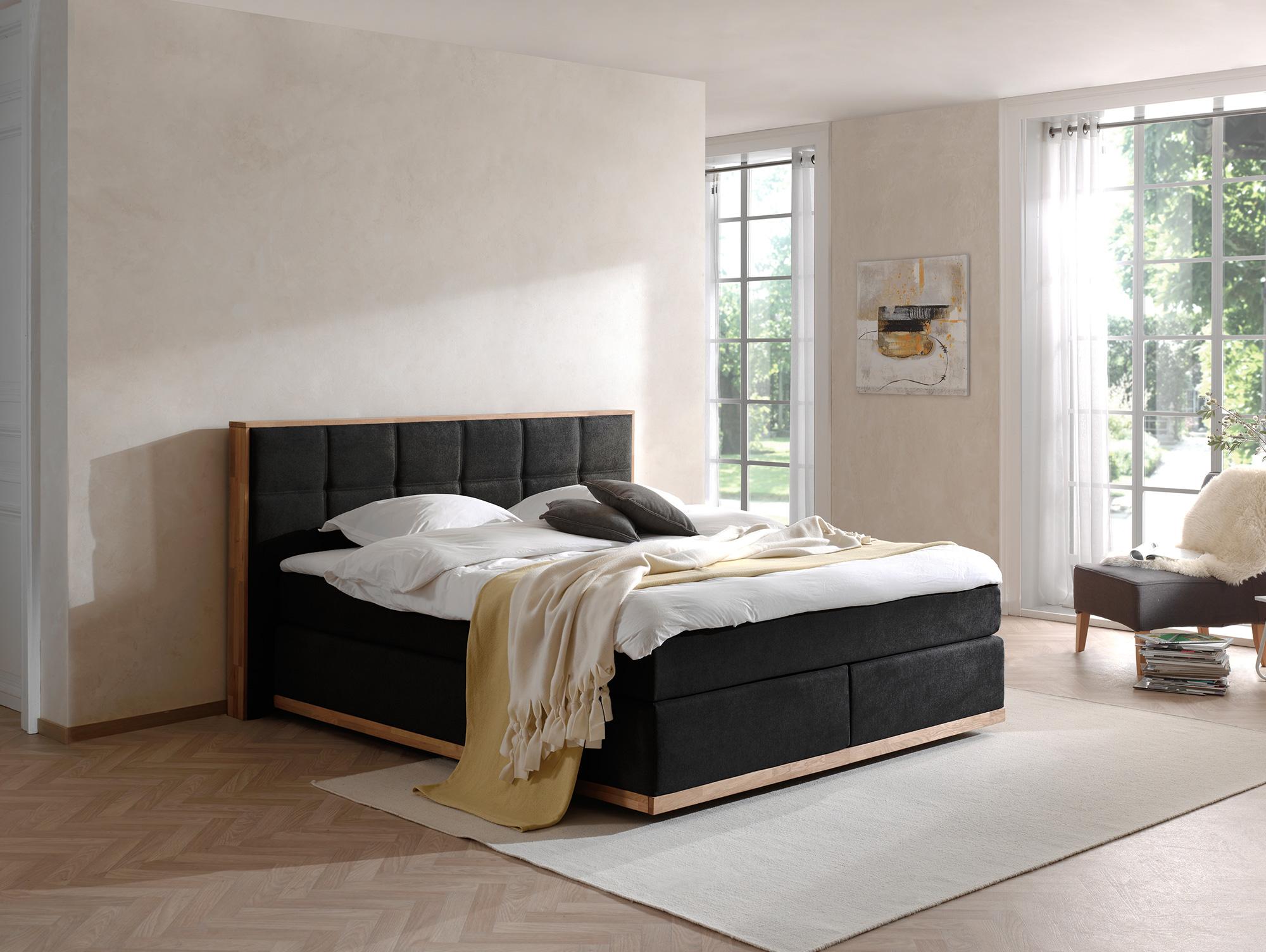 levantos boxspringbett mit holzrahmen und bezug in samtoptik 180 x 200 cm schwarz h rtegrad 2. Black Bedroom Furniture Sets. Home Design Ideas
