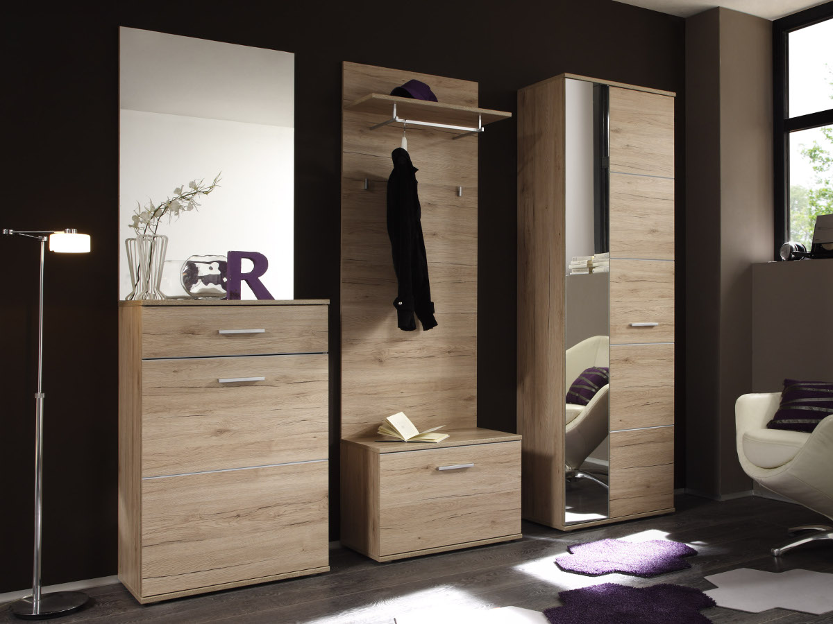 lin garderobe 5 teilig dekor eiche san remo hell. Black Bedroom Furniture Sets. Home Design Ideas
