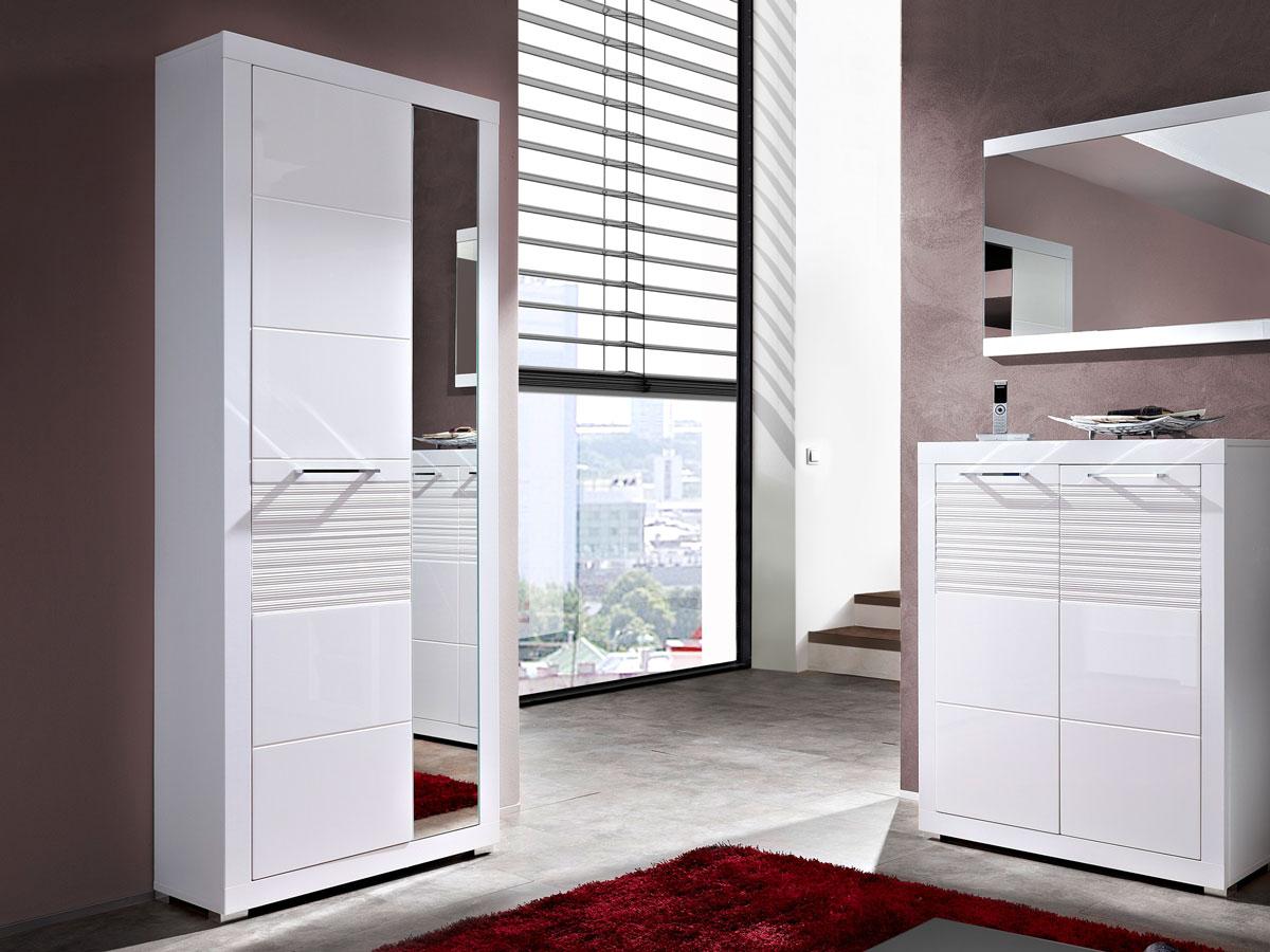Möbel-Eins LIVE Garderobenschrank weiß / weiß MDF Riffel