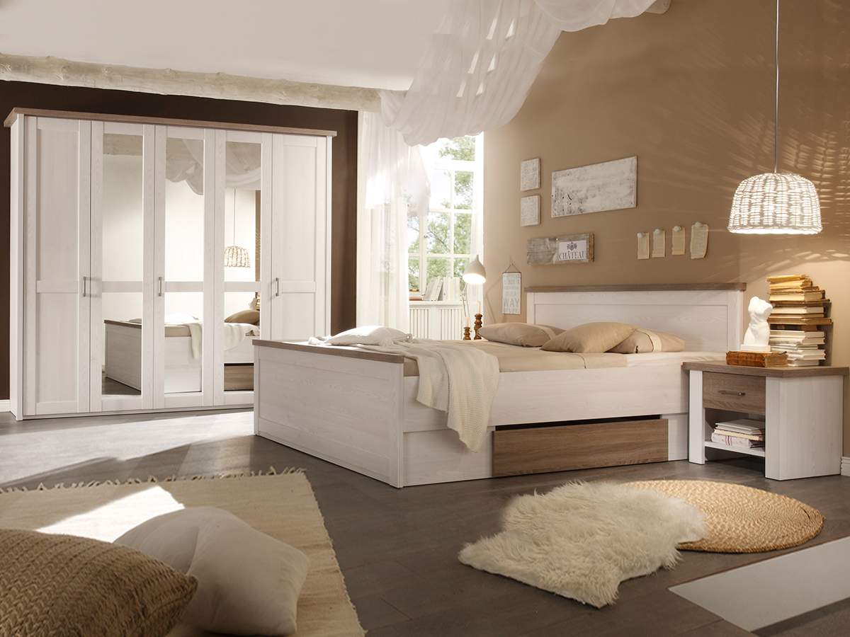 LUBA Komplett Schlafzimmer, Material MDF, Weiss Piniefarbig /trüffelfarbig