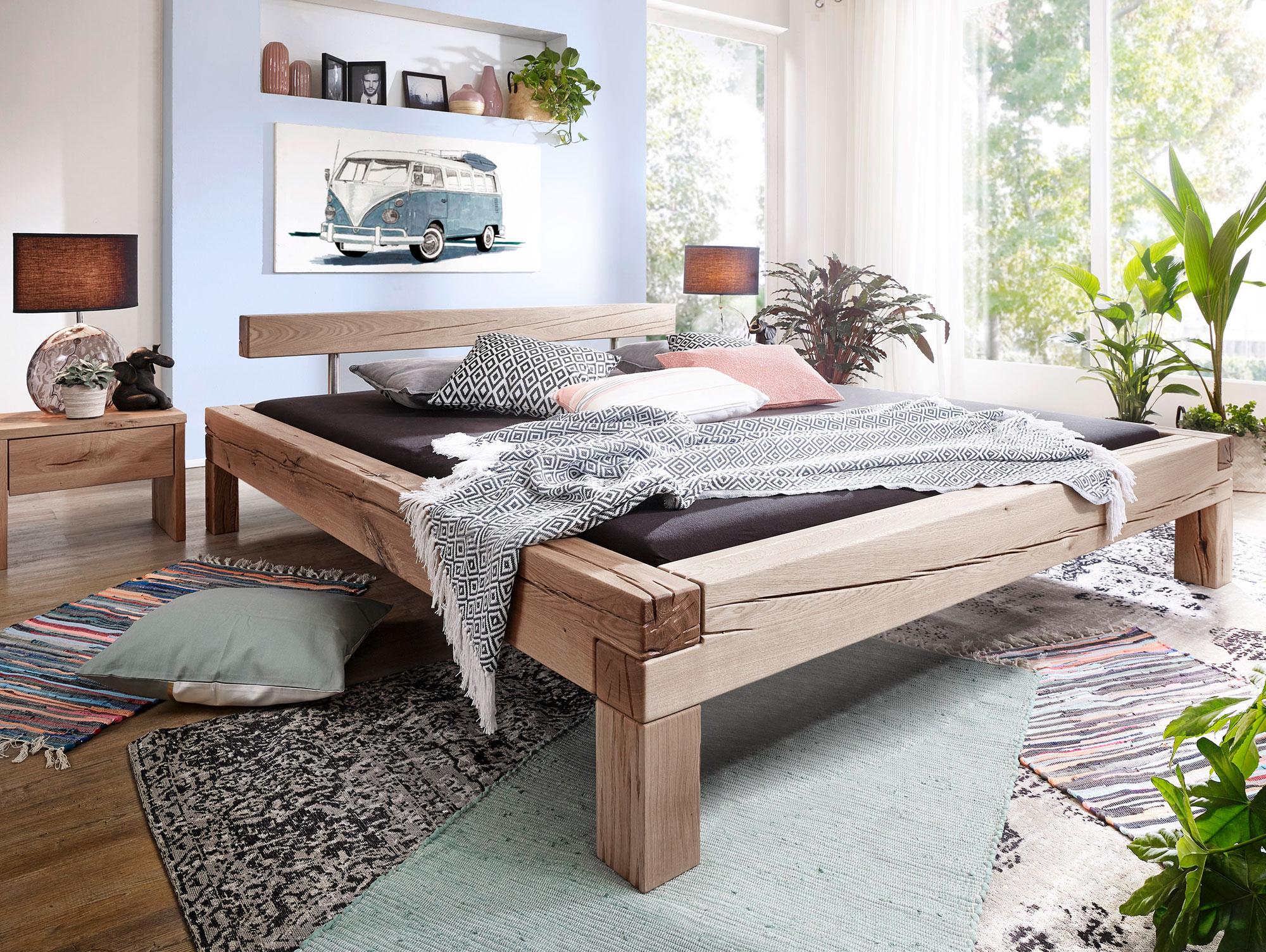 lukas massivholzbett 160 x 200 cm eiche hell. Black Bedroom Furniture Sets. Home Design Ideas