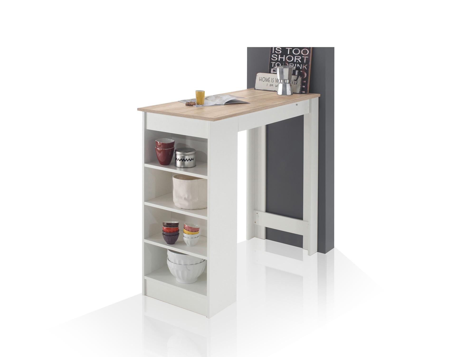 macarena bartisch mit seitlichem regal weiss eiche sonoma dekor. Black Bedroom Furniture Sets. Home Design Ideas