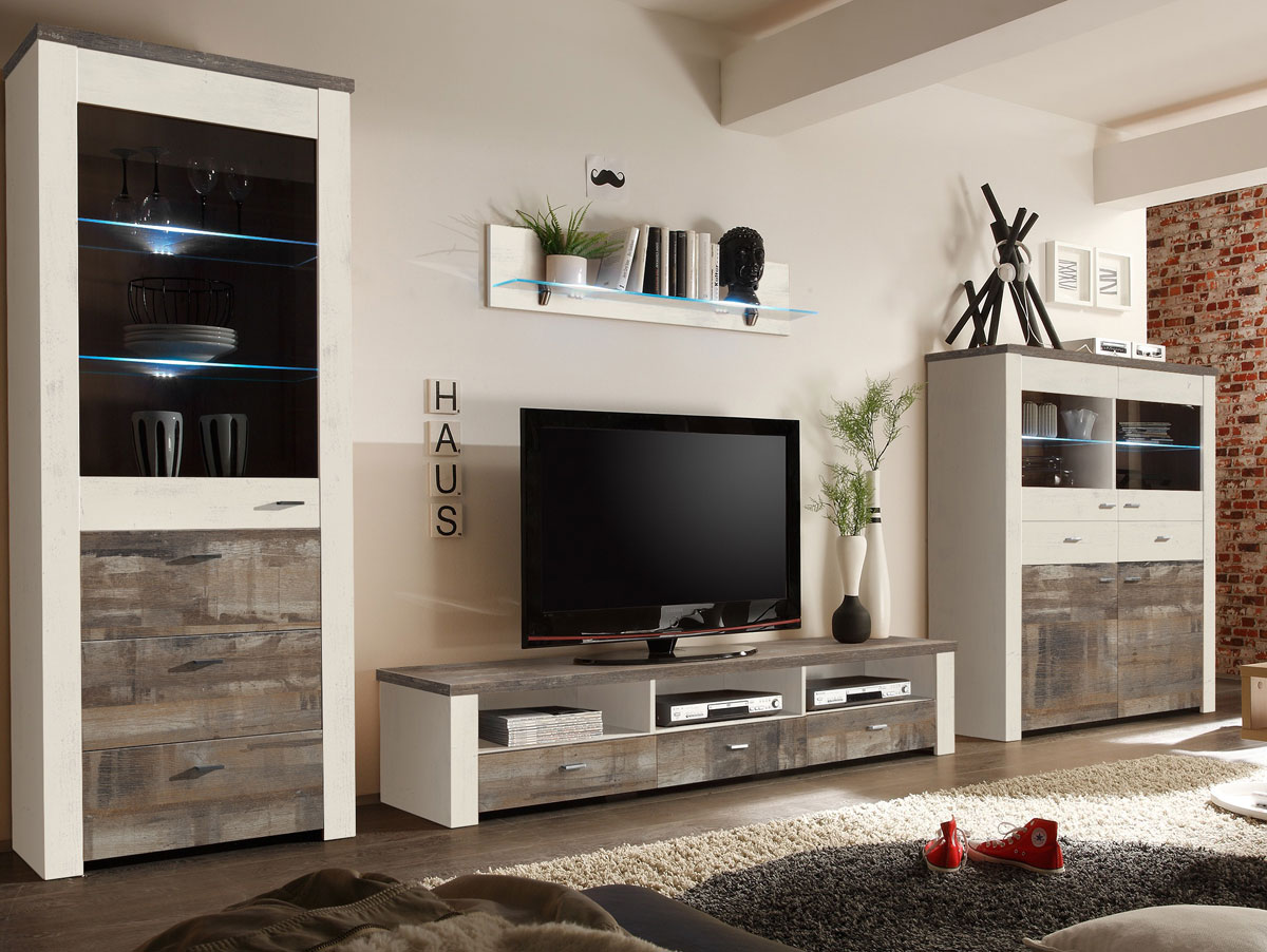 wohnwand rustikal modern. Black Bedroom Furniture Sets. Home Design Ideas