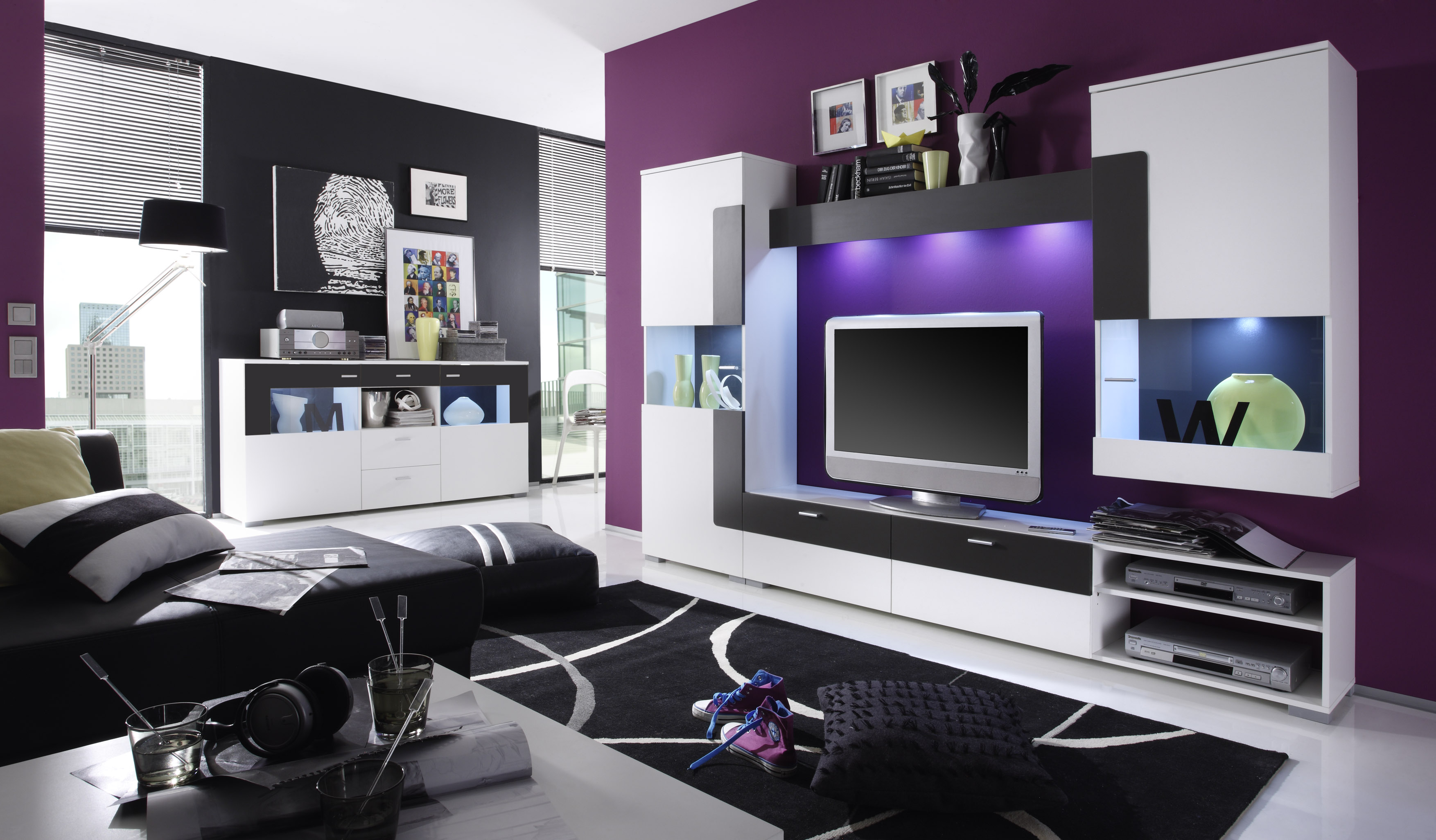 memphis wohnwand wei abs anthrazit preiswert bestellen sch ne m bel online kaufen. Black Bedroom Furniture Sets. Home Design Ideas