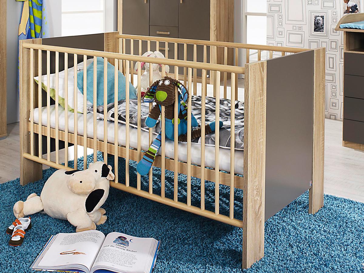 Vorschaubild von MARIA Babybett Eiche Sonoma / lavagrau