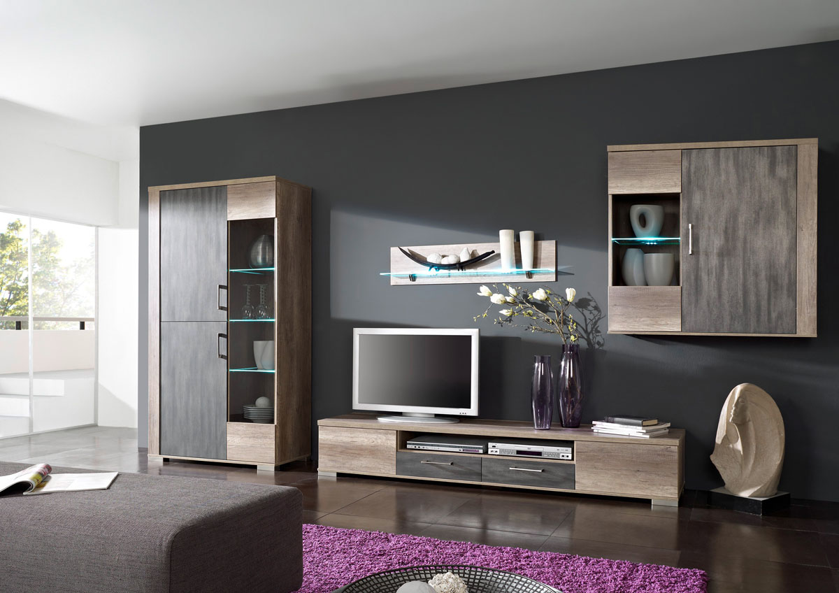 marrakesch wohnwand i wildeiche tr ffel metallic edelmatt billiger bestellen. Black Bedroom Furniture Sets. Home Design Ideas
