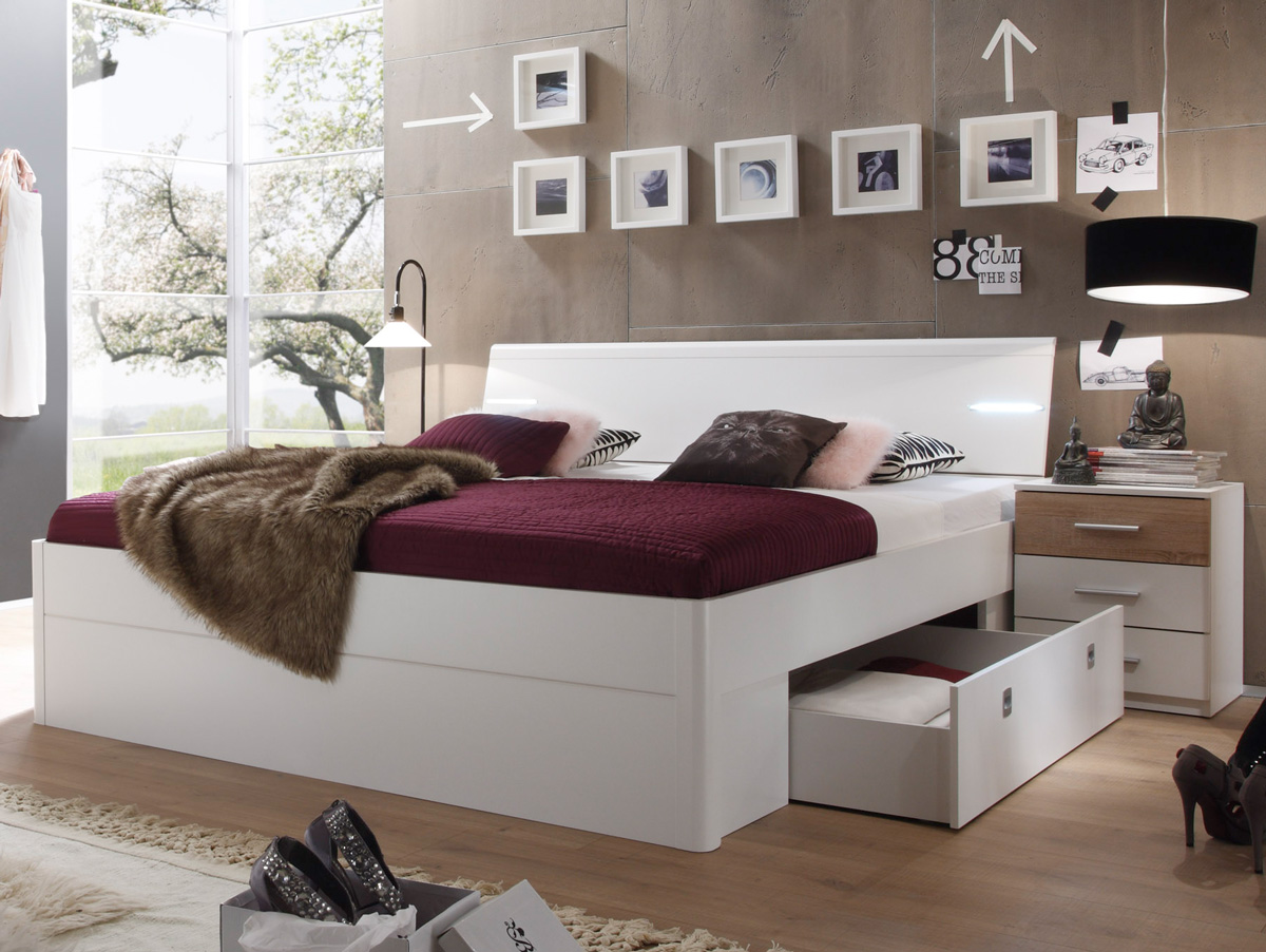 milena futonbett bettanlage inkl nakos wei eiche sonoma. Black Bedroom Furniture Sets. Home Design Ideas