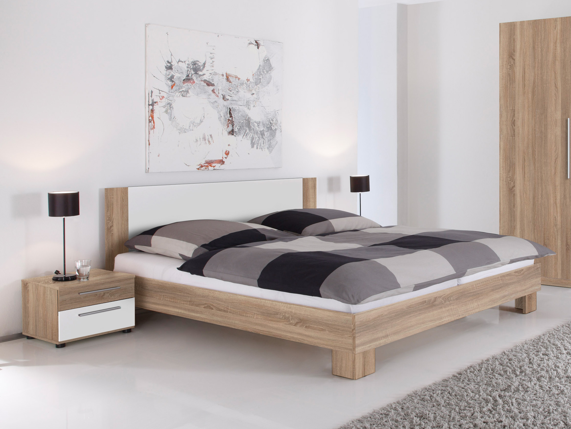 martina doppelbett inkl 2 nachttische eiche sonoma wei. Black Bedroom Furniture Sets. Home Design Ideas