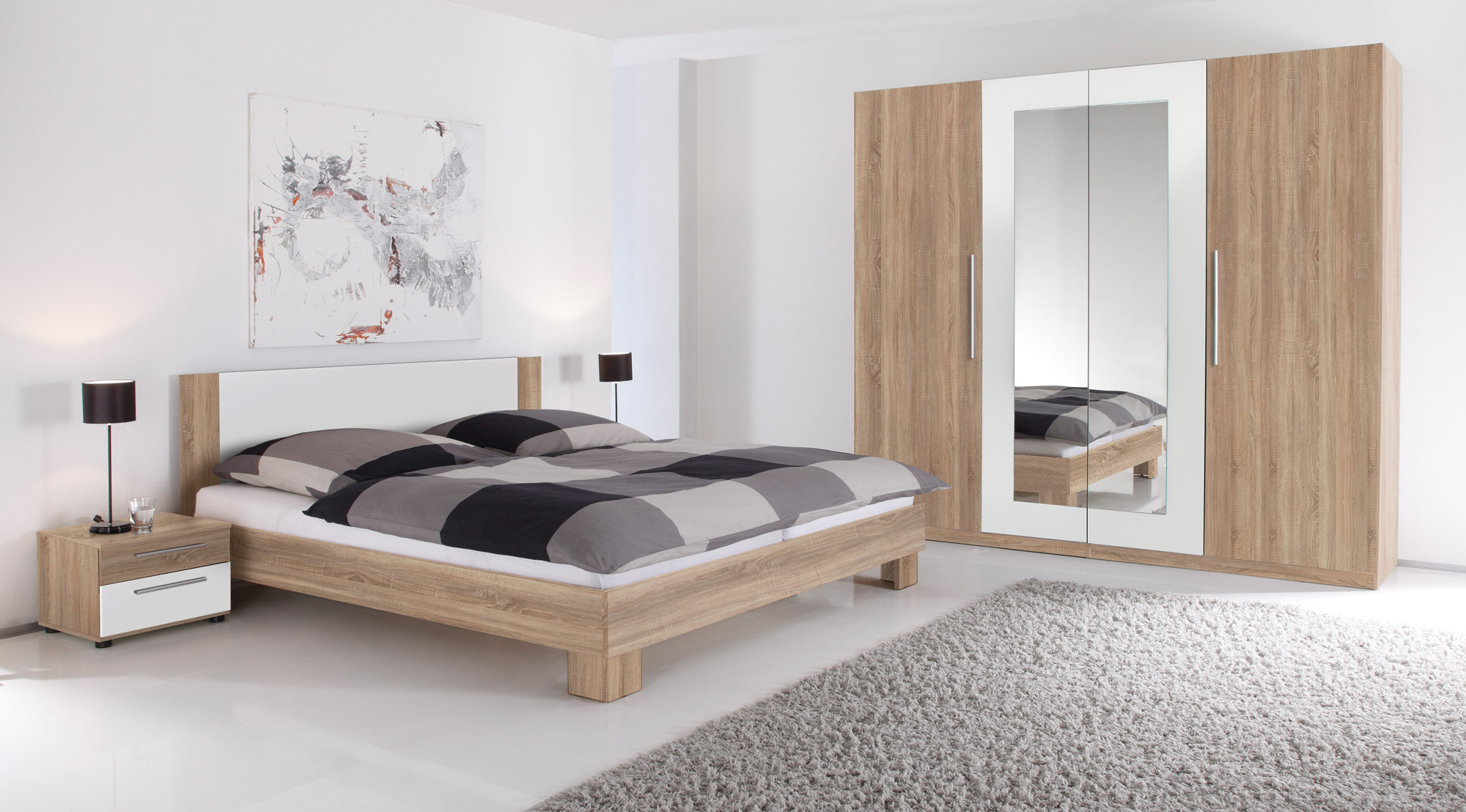 martina komplett schlafzimmer eiche sonoma wei. Black Bedroom Furniture Sets. Home Design Ideas