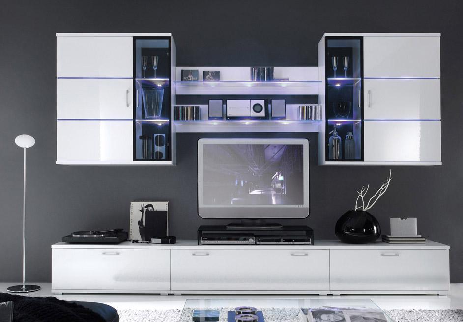 maya wohnwand 941 wei hochglanz super angebot sch ne m bel online kaufen. Black Bedroom Furniture Sets. Home Design Ideas