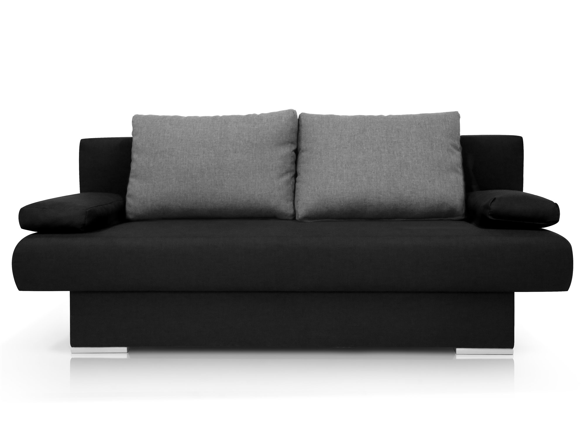mike schlafsofa schlafcouch schwarz kissen anthrazit. Black Bedroom Furniture Sets. Home Design Ideas