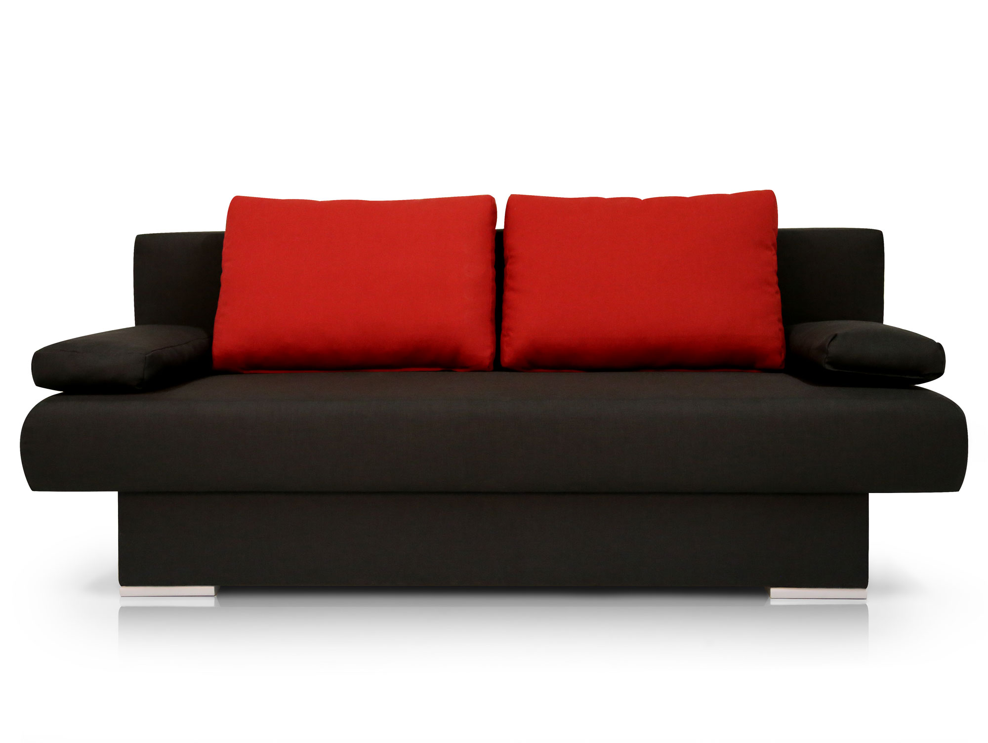 mike schlafsofa schlafcouch schwarz kissen rot. Black Bedroom Furniture Sets. Home Design Ideas