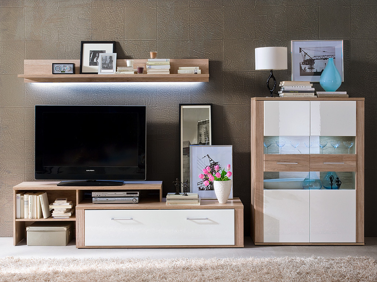 mochito wohnwand ii wei sanremo sand einfach g nstiger bestellen sch ne. Black Bedroom Furniture Sets. Home Design Ideas