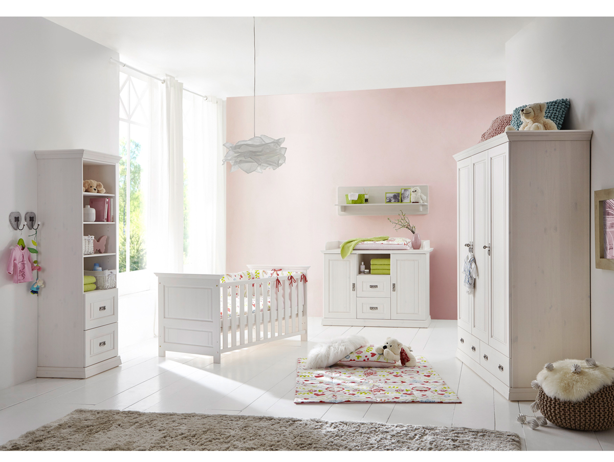 Odette kinderzimmer kiefer massivholz wei for Babyzimmer kinderzimmer