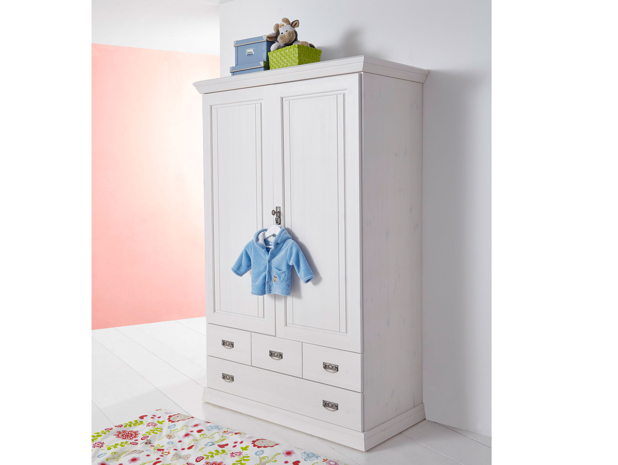 ODETTE Wäscheschrank 2trg, massiv/weiß gewachst