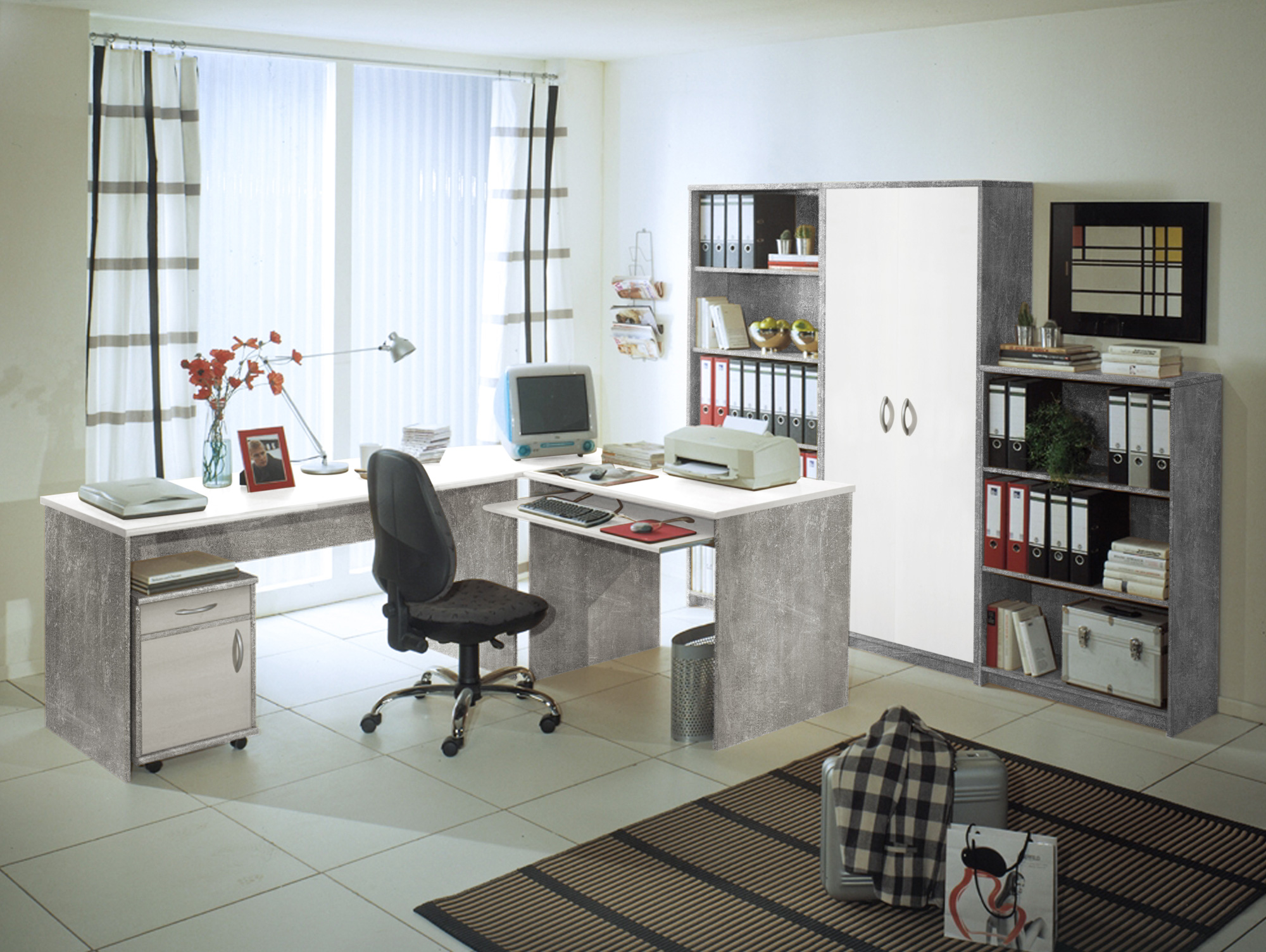 office compact heimb ro beton wei. Black Bedroom Furniture Sets. Home Design Ideas