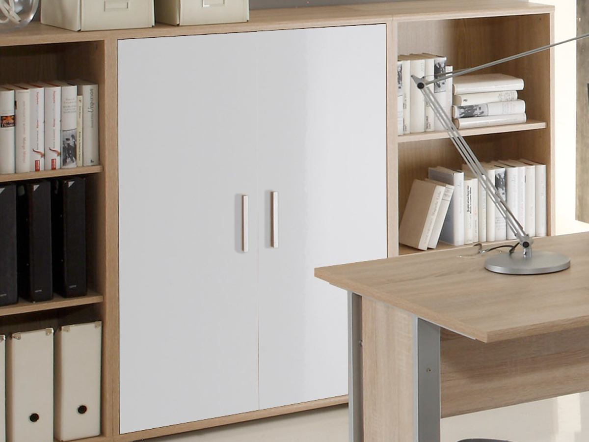 office line kommode klein 2 t ren eiche sonoma wei. Black Bedroom Furniture Sets. Home Design Ideas