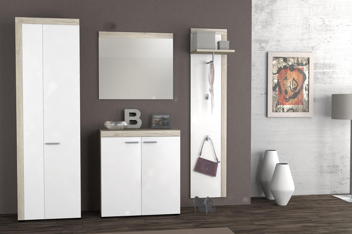 pamo garderobe eiche san remo hell wei. Black Bedroom Furniture Sets. Home Design Ideas