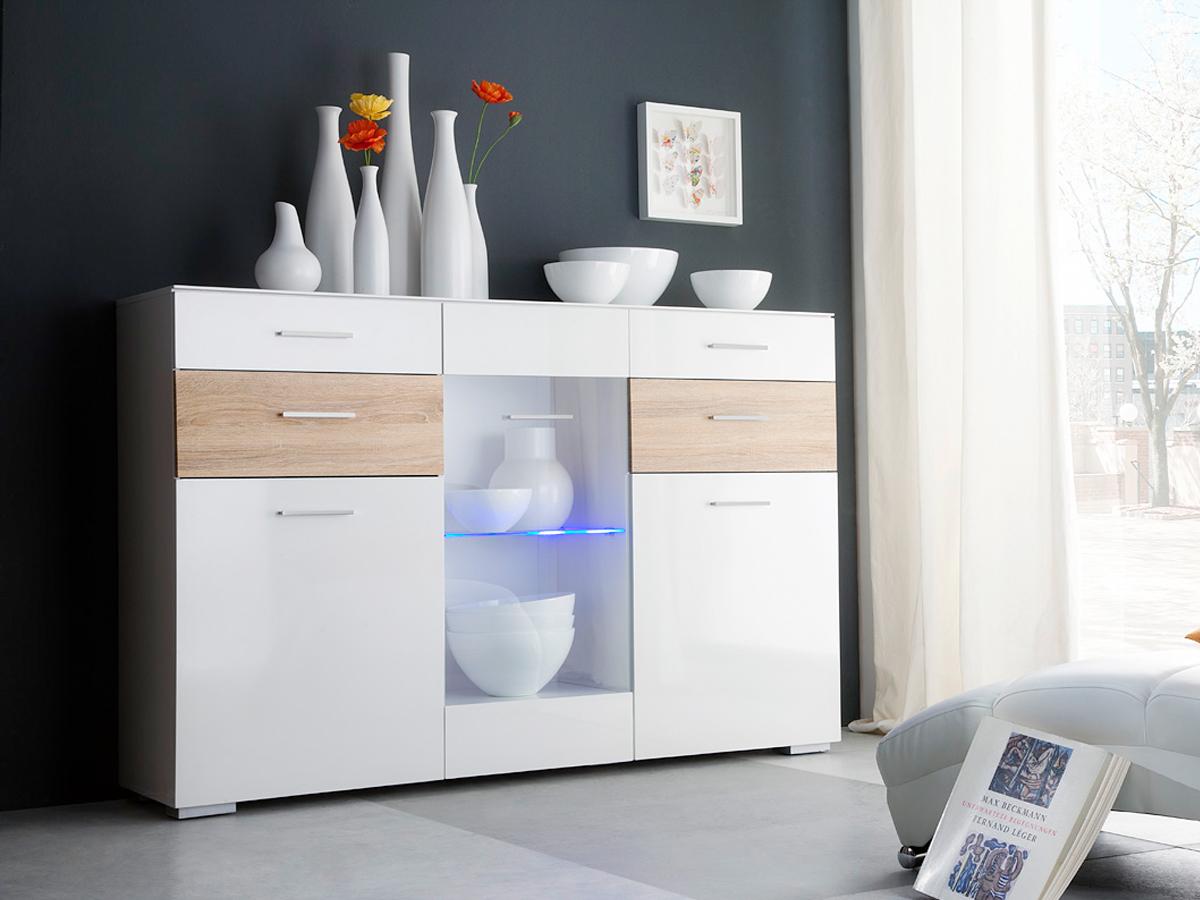 pica highboard wei eiche sonoma wechselfr. Black Bedroom Furniture Sets. Home Design Ideas