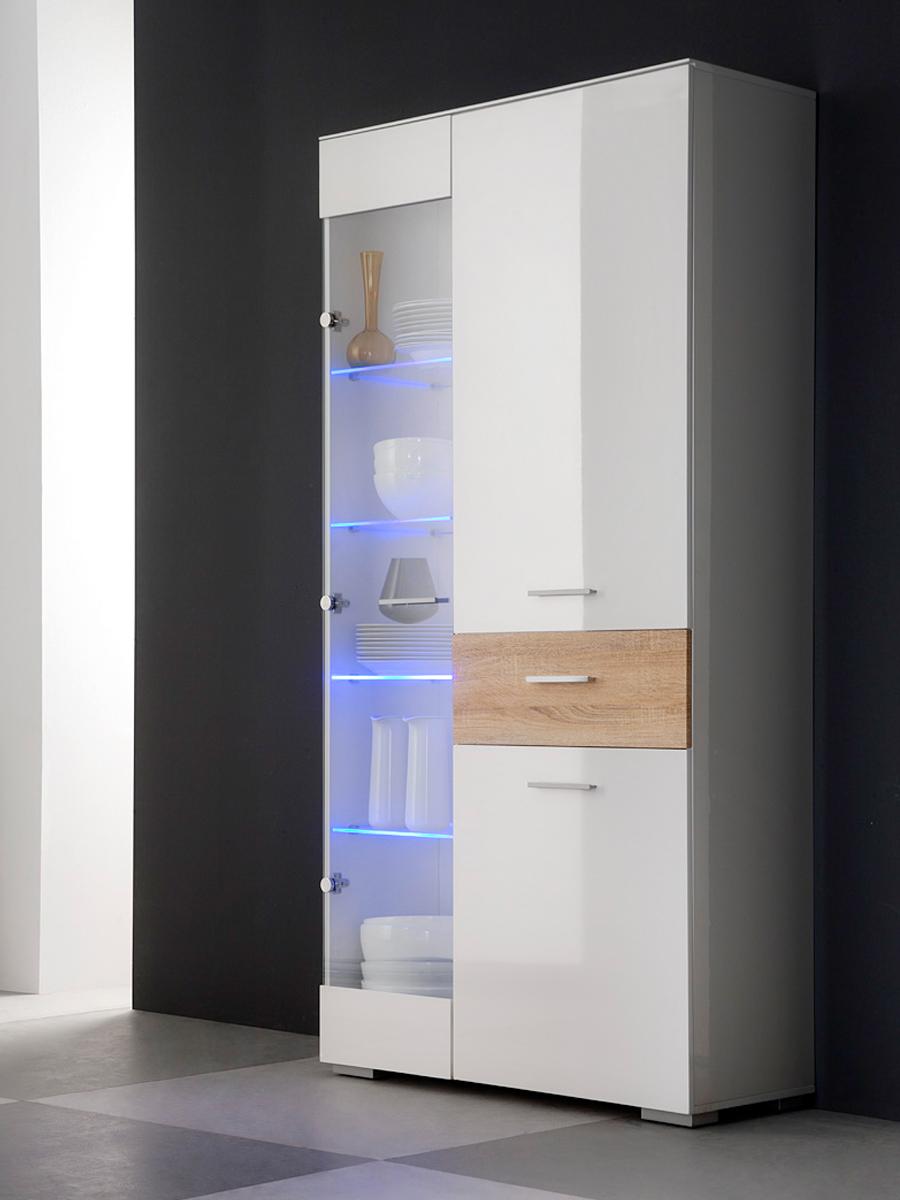 eiche sonoma vitrine g nstig kaufen. Black Bedroom Furniture Sets. Home Design Ideas