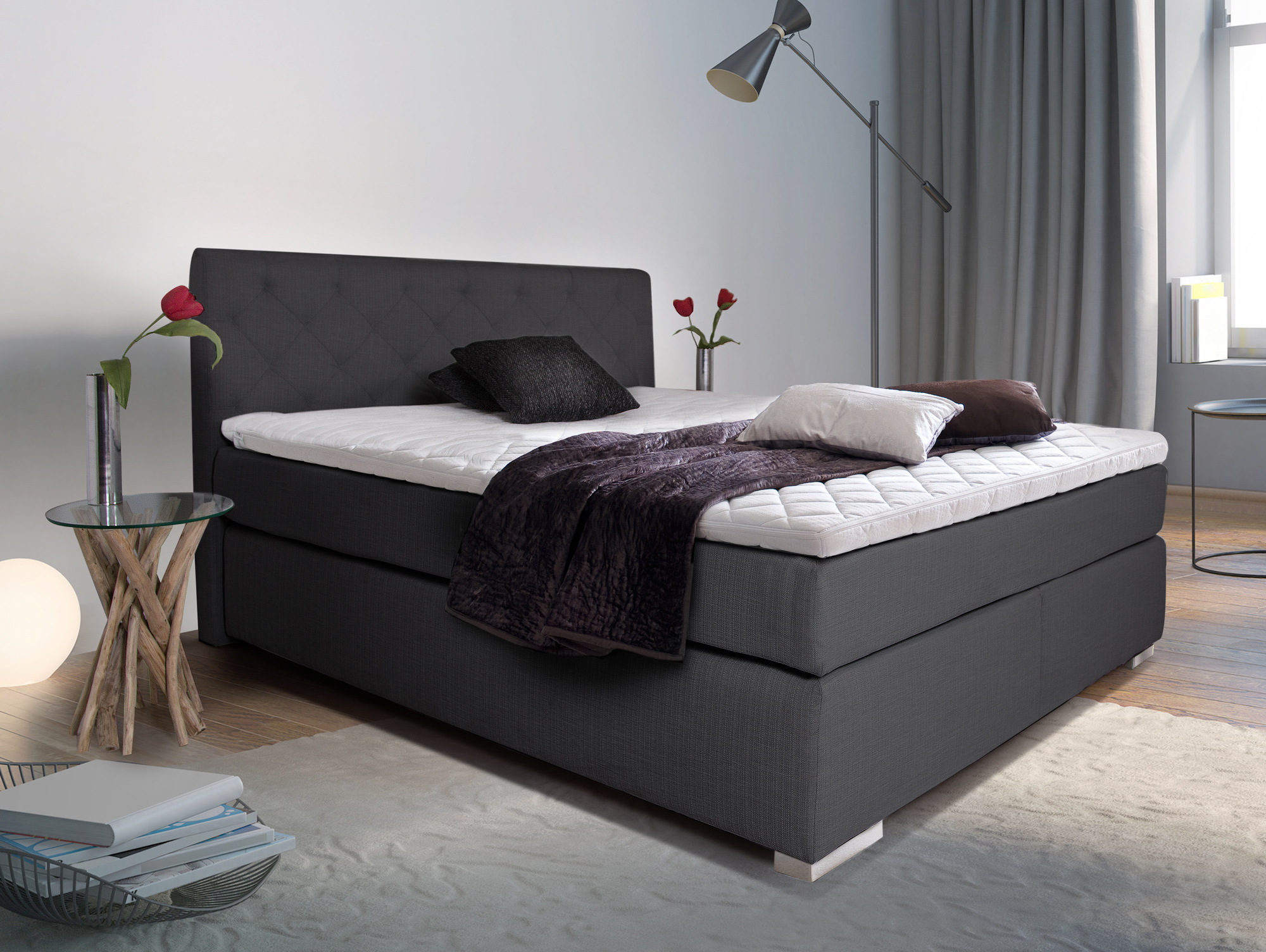 premium boxspringbett inkl kopfteil 180 x 200 cm anthrazit h rtegrad 3. Black Bedroom Furniture Sets. Home Design Ideas