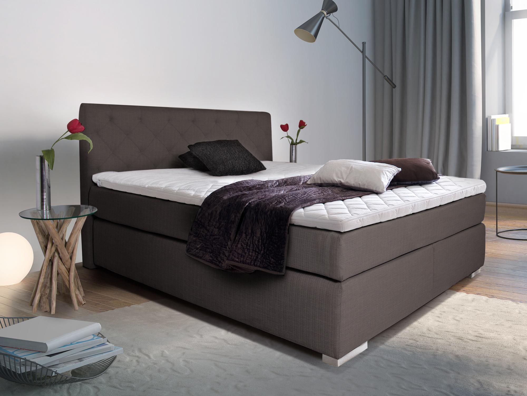 premium boxspringbett inkl kopfteil 100 x 200 cm braun h rtegrad 3. Black Bedroom Furniture Sets. Home Design Ideas