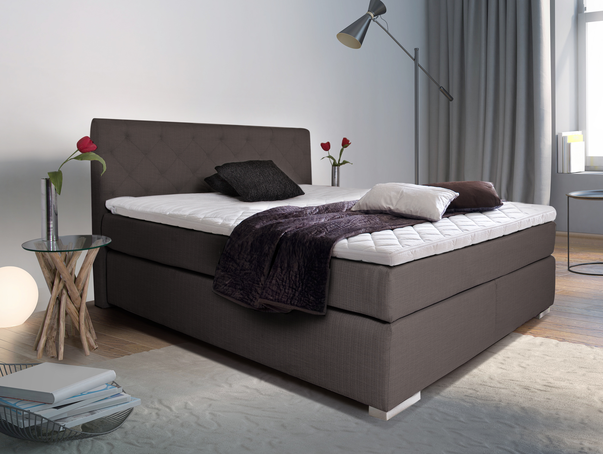premium boxspringbett inkl kopfteil 200 x 200 cm braun h rtegrad 2. Black Bedroom Furniture Sets. Home Design Ideas