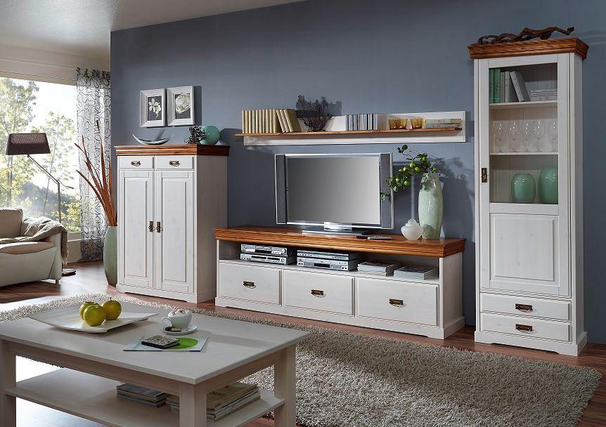 ralf wohnkombi wohnwand kiefer wei honig. Black Bedroom Furniture Sets. Home Design Ideas