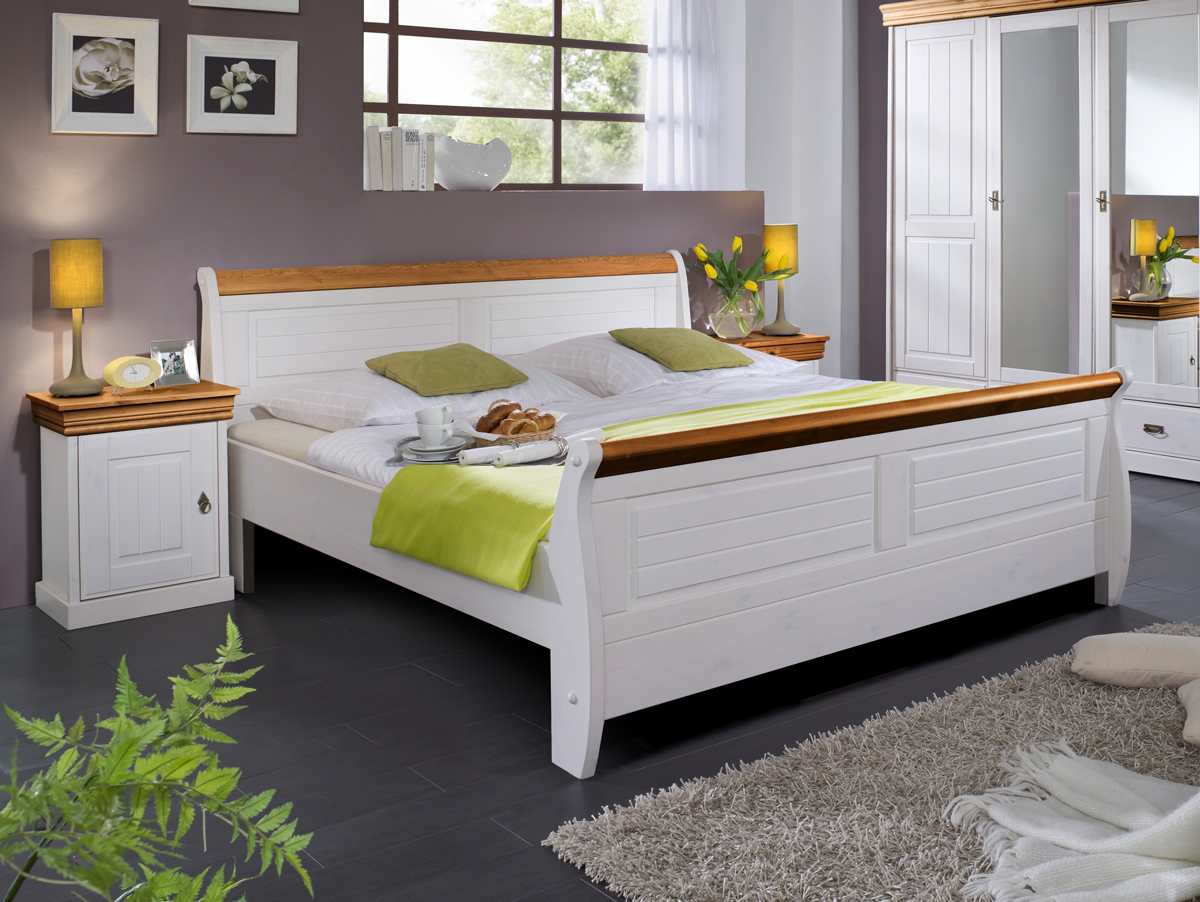 romeo doppelbett massivholzbett 100 x 200 weiss honig ohne bettkasten. Black Bedroom Furniture Sets. Home Design Ideas