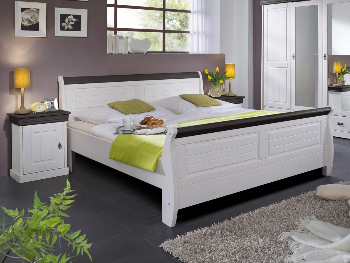 roman massivholzbett kiefer wei 180 x 200 weiss. Black Bedroom Furniture Sets. Home Design Ideas