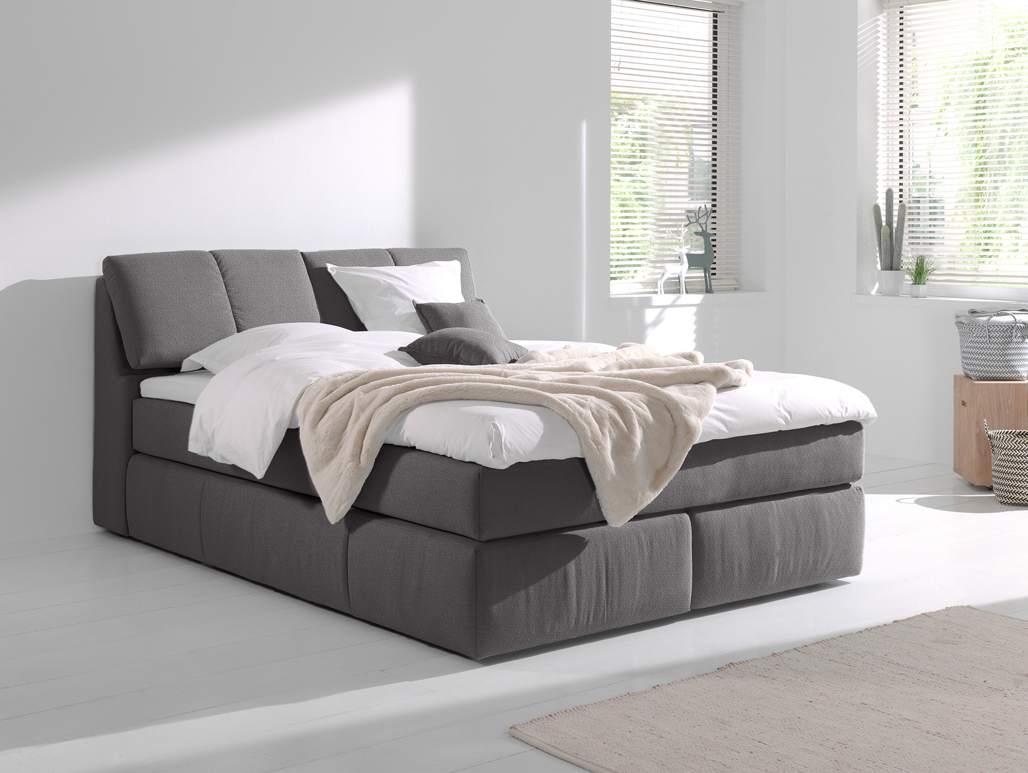roswell boxspringbett mit relaxkopfteil 180 x 200 cm grau h rtegrad 2. Black Bedroom Furniture Sets. Home Design Ideas
