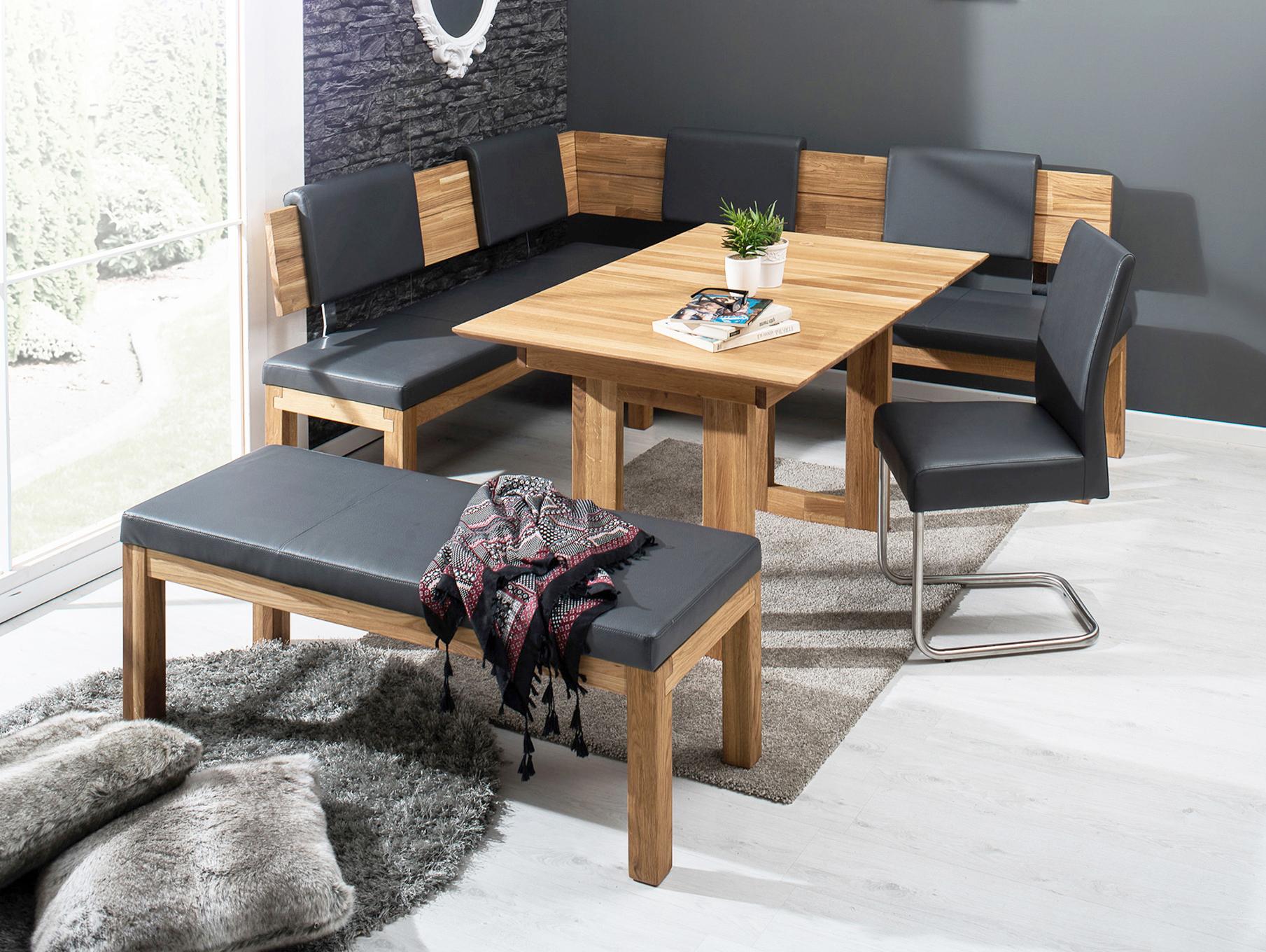 salima eckbank massivholz mit kunstleder bezogen 190 x 150 cm links eiche ge lt grau. Black Bedroom Furniture Sets. Home Design Ideas