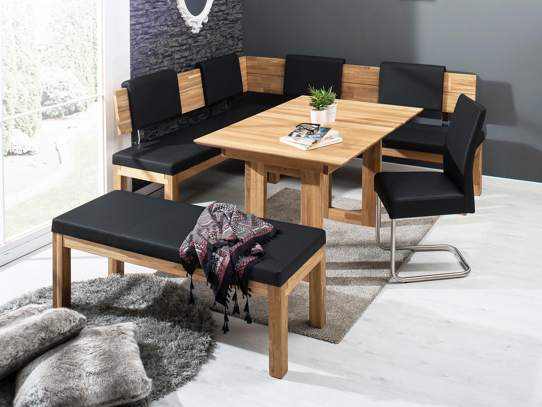 salima eckbank massivholz mit kunstleder bezogen 190 x 150 cm links eiche ge lt schwarz. Black Bedroom Furniture Sets. Home Design Ideas
