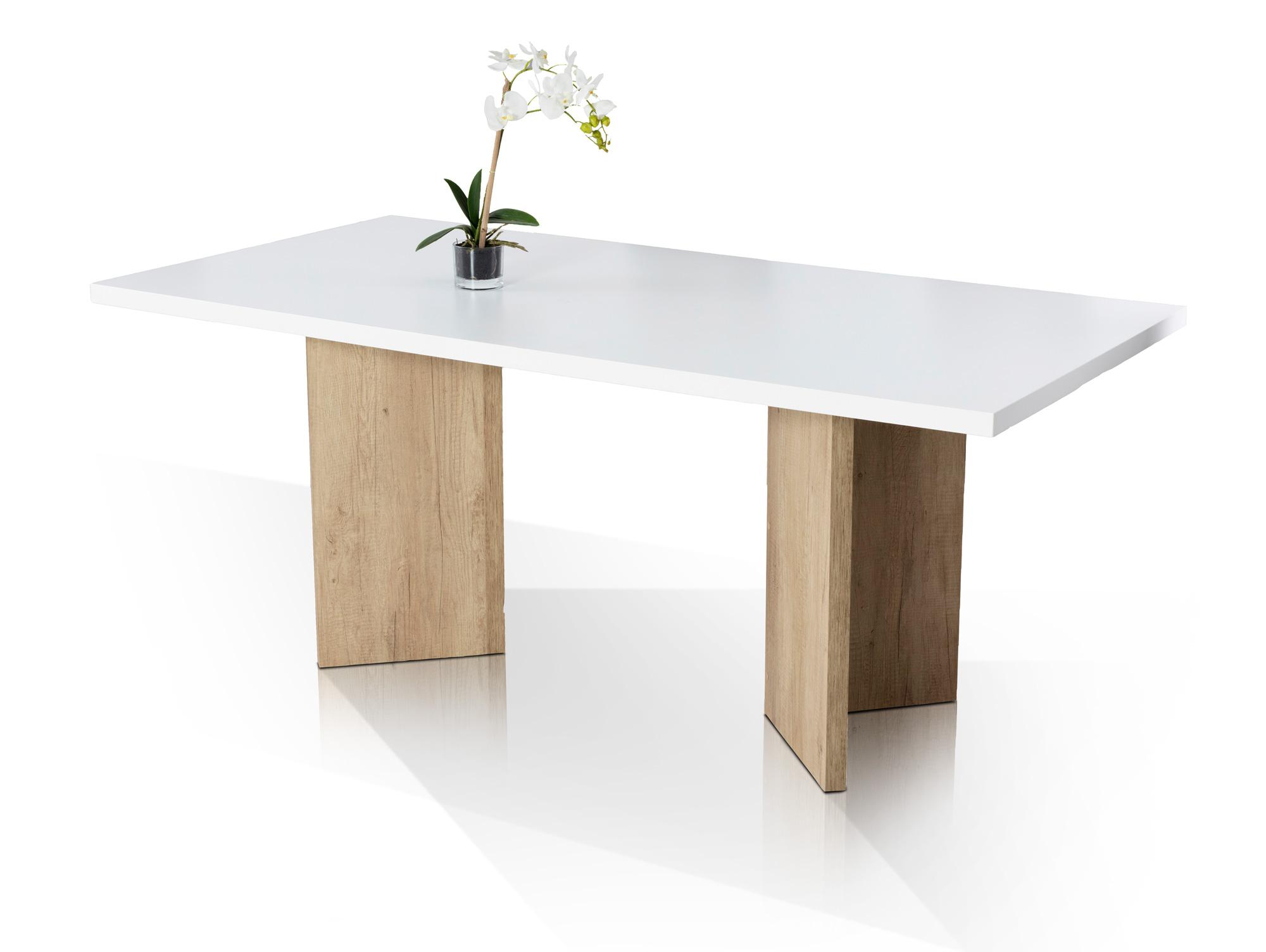 salzburg esstisch 180x90 cm wei matt gestell eichelook. Black Bedroom Furniture Sets. Home Design Ideas