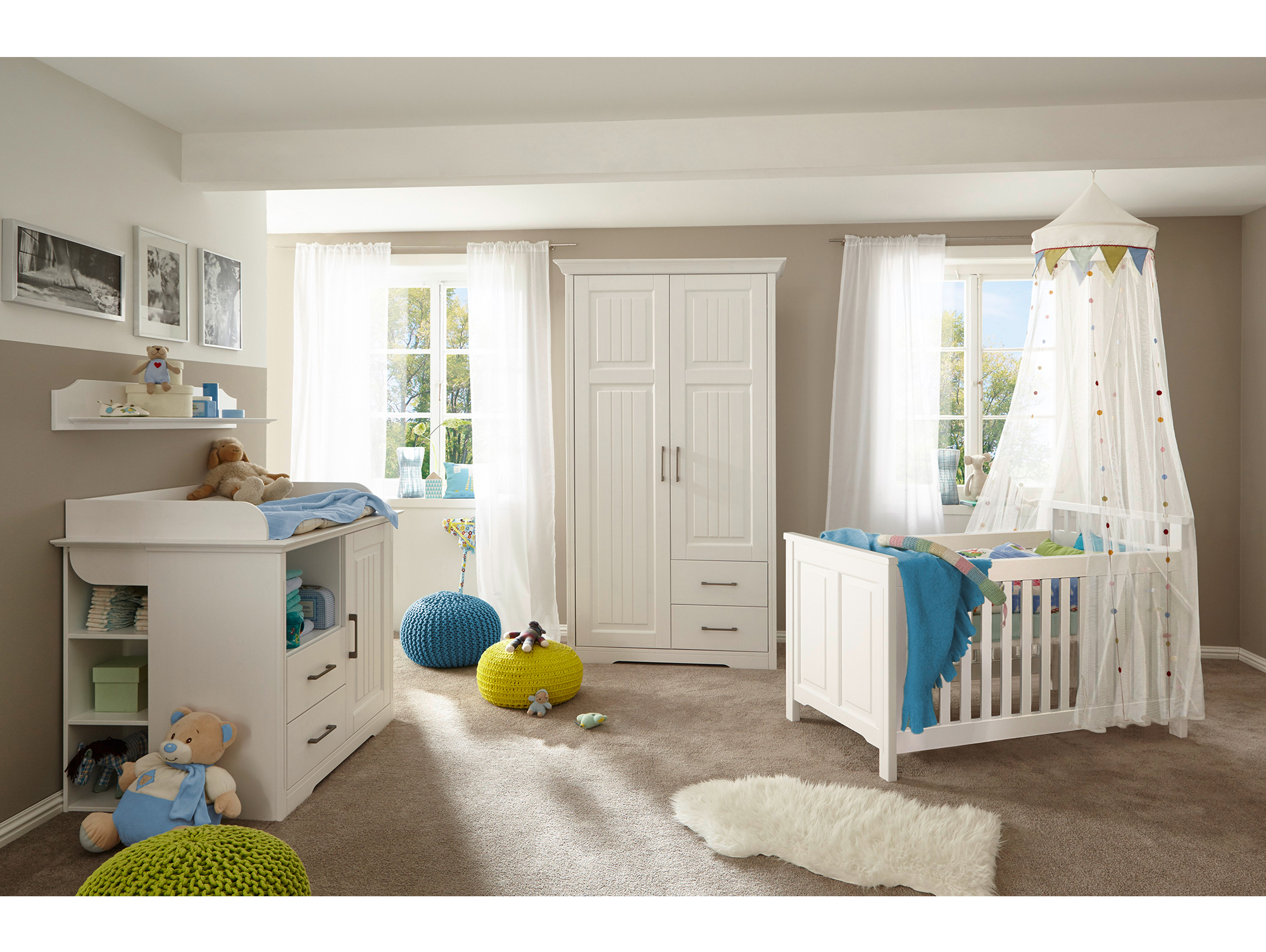 samira komplett babyzimmer kiefer weiss. Black Bedroom Furniture Sets. Home Design Ideas