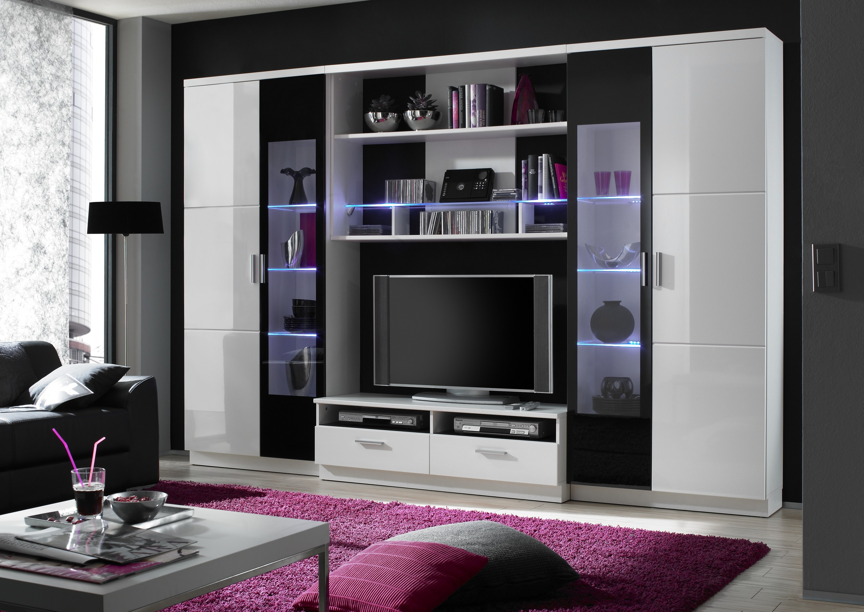 sansi hochglanz wohnwand wei schwarz. Black Bedroom Furniture Sets. Home Design Ideas