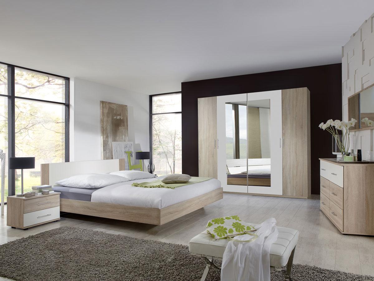 flores i komplett schlafzimmer 180 x 200 cm eiche s gerau dekor weiss. Black Bedroom Furniture Sets. Home Design Ideas