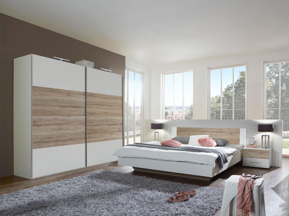 flores ii komplett schlafzimmer 160 x 200 cm weiss sanremo eiche dekor. Black Bedroom Furniture Sets. Home Design Ideas