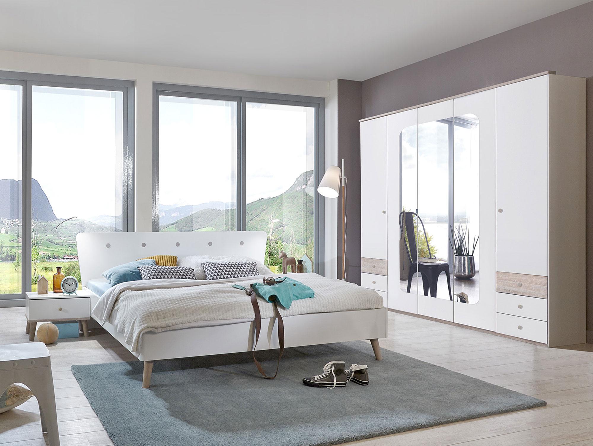 batida i komplett-schlafzimmer 140 x 200 cm | weiss/eiche sägerau, Wohnzimmer dekoo