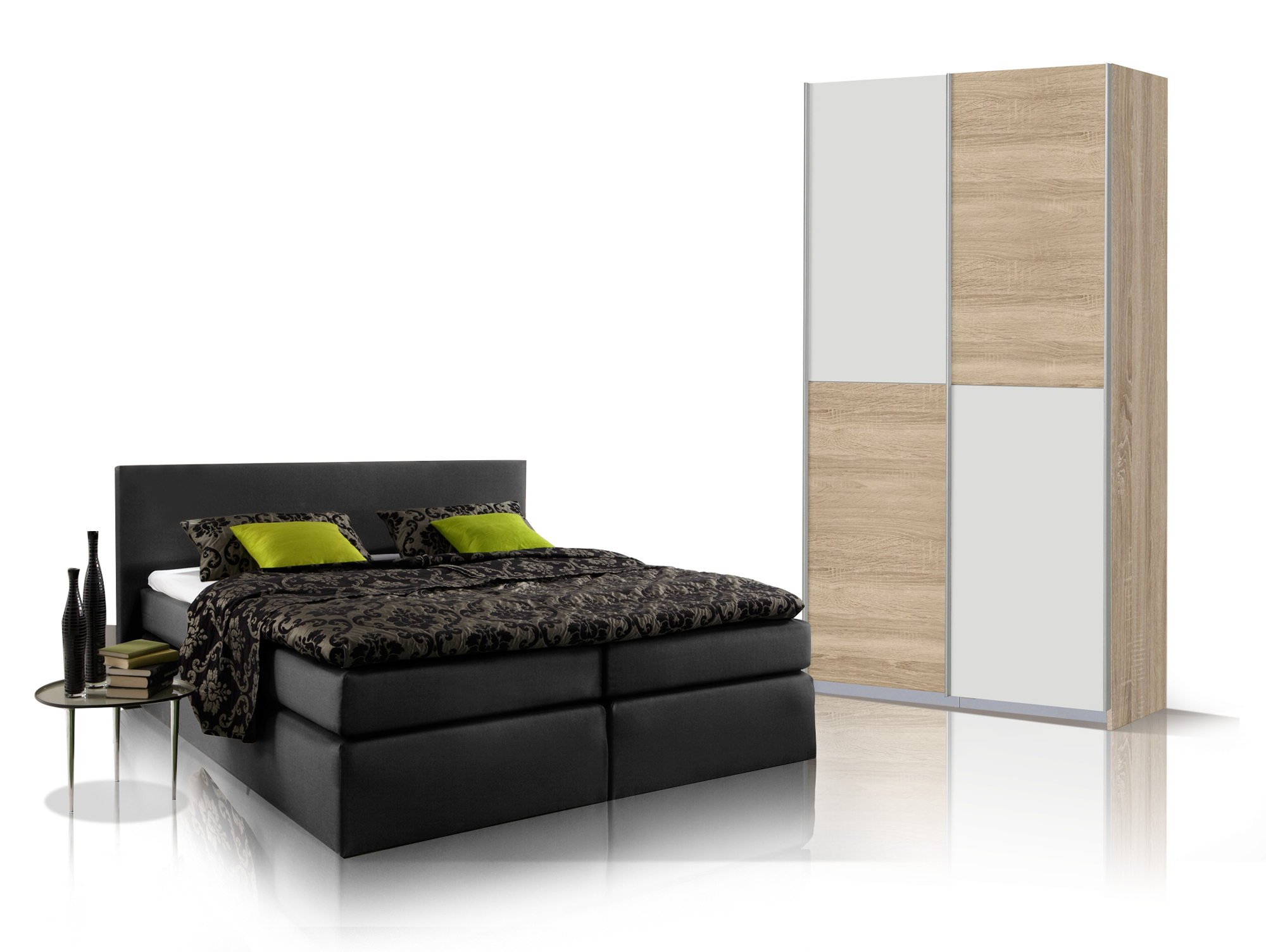 oreno schlafzimmerset schrank und boxspringbett schwarz 140x200 cm eiche sonoma weiss. Black Bedroom Furniture Sets. Home Design Ideas
