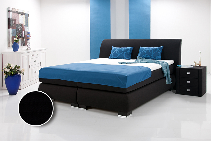 luxus boxspringbett inkl kopfteil doppelbett einzelbett 90 x 200 schwarz h rtegrad 2. Black Bedroom Furniture Sets. Home Design Ideas