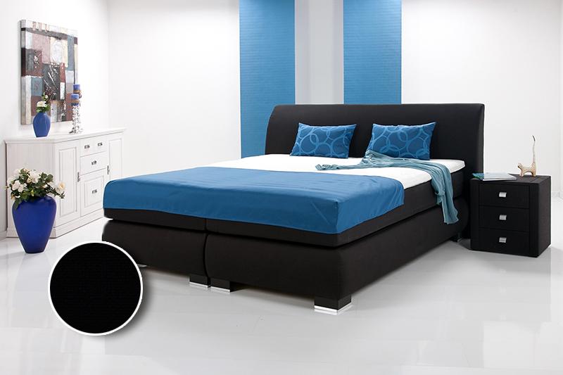 luxus boxspringbett inkl kopfteil doppelbett einzelbett 90 x 200 schwarz h rtegrad 2. Black Bedroom Furniture Sets. Home Design Ideas