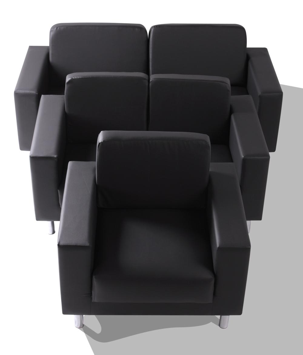susi 3 2 1 sofagarnitur textilleder schwarz. Black Bedroom Furniture Sets. Home Design Ideas