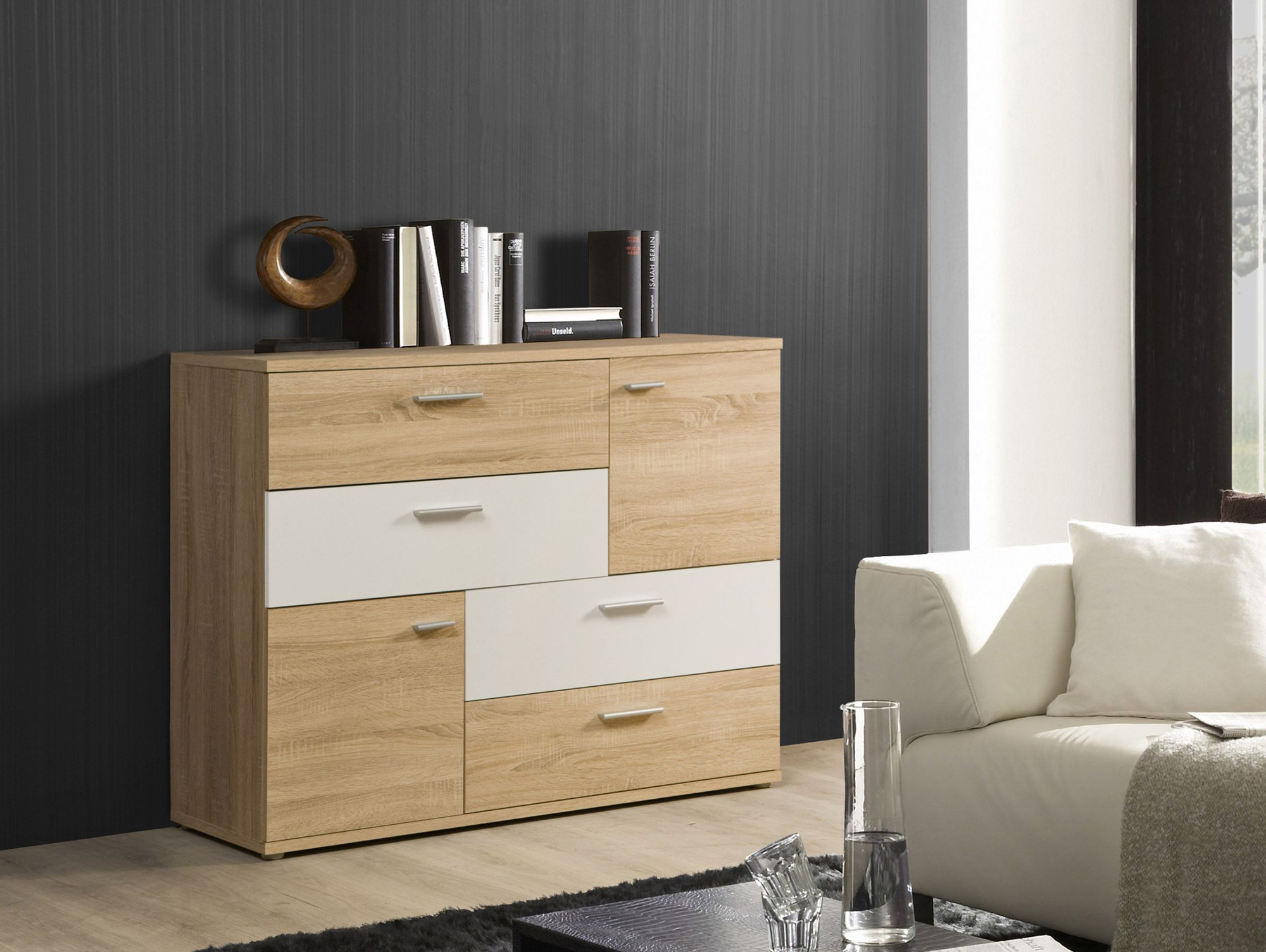skiv kommode mit 2 t ren und 4 schubk sten eiche sonoma weiss. Black Bedroom Furniture Sets. Home Design Ideas