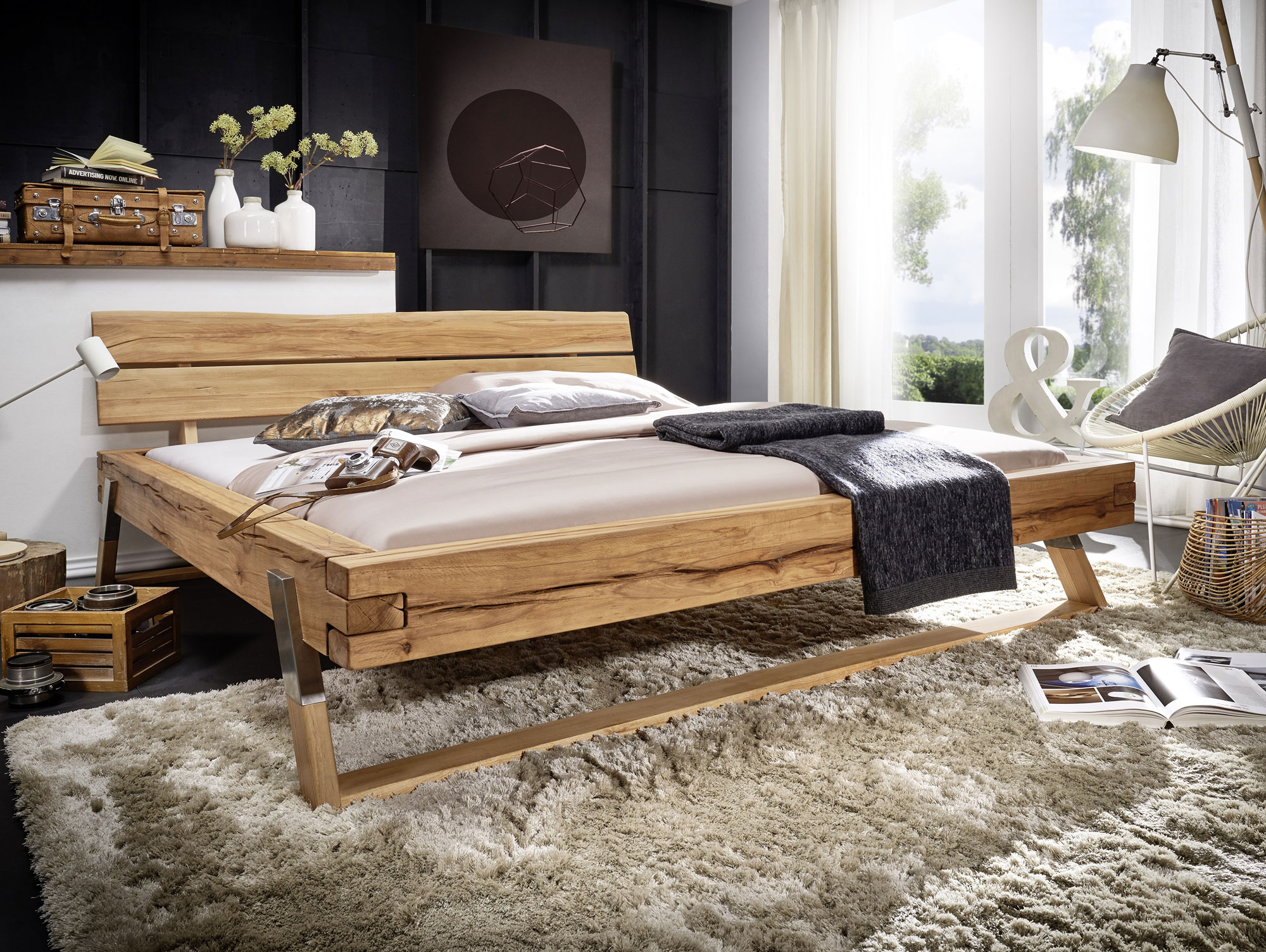 tyler massivholzbett ge lt 160 x 200 cm wildbuche. Black Bedroom Furniture Sets. Home Design Ideas