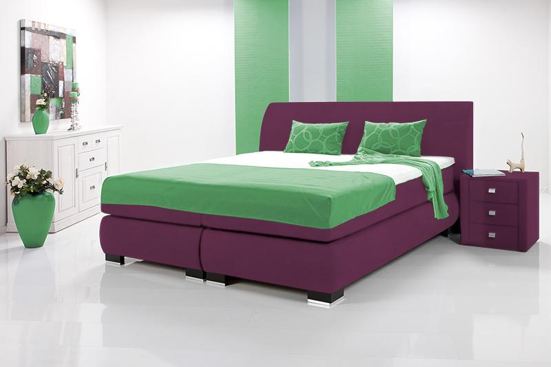 luxus boxspringbett inkl kopfteil doppelbett einzelbett 90 x 200 violett h rtegrad 2. Black Bedroom Furniture Sets. Home Design Ideas